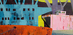 Rotterdam Sunset_100 x250 cm_Acrylicpaint, Emulsion, Styrofoam,S